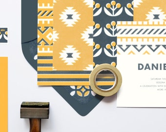 """Southwest Patterned Wedding Invitation Set: """"The Artisan"""" from the Laurel Collection"""