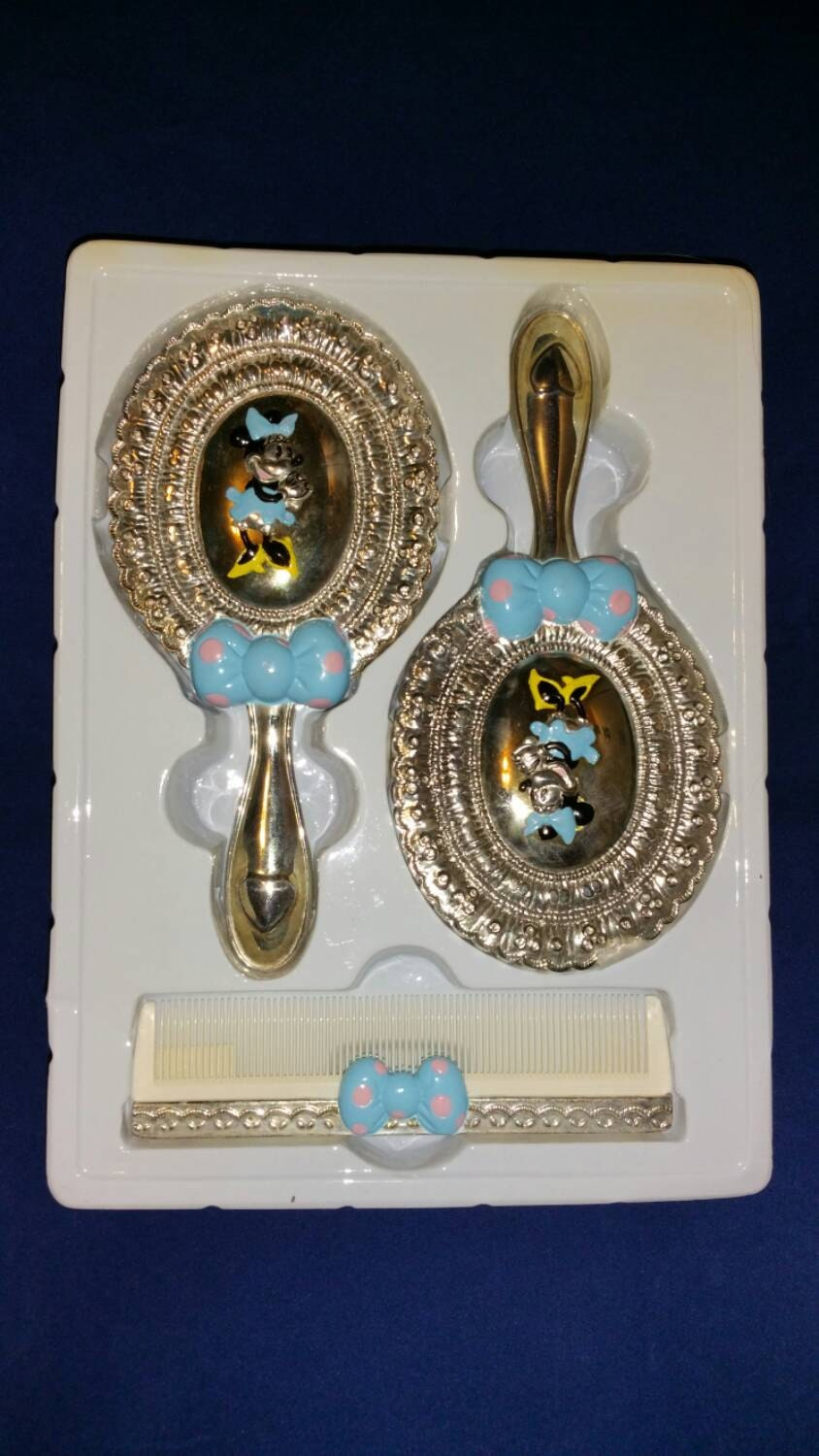 Vintage Disney Minnie Mouse 3 Piece Silverplate Dresser