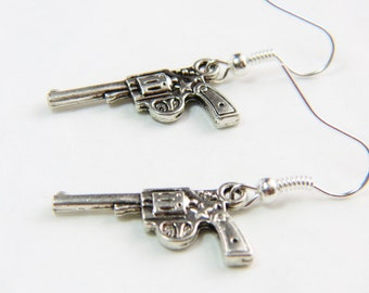 Gun Earrings, Revolver Earrings, Weapon Jewelry, Pistol Earrings, Trending Jewelry, Pistol Earring