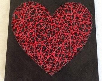 Black & Red Love Heart String Art Wall Hanging Handmade Home Decor