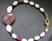 Red Dragon Vein Agate, Garnet, and Mother of Pearl Bracelet.