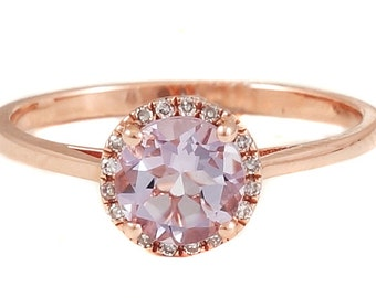 14K Rose Gold with Round Pink Amethyst & Diamonds Halo Ring - CUSTOM MADE