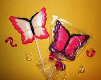 20 Chocolate BUTTERFLY Lollipop Party Favors
