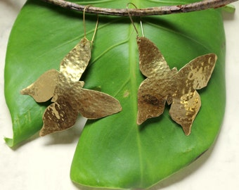 Handmade hammered  butterfly statement earrings made of brass, aluminium or german silver.