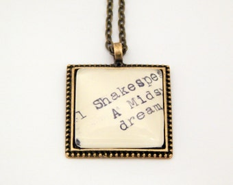 Shakespeare necklace, Midsummer Nights Dream, library card catalog jewelry, Dewey Decimal, literature gift, theater necklace, actress gift