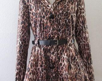 14-1114 25% OFF Vintage 1990's Leopard Print Coat / Leopard Jacket  / Leopard Coat / Charlotte Russe Coat / Trench Coat / American Vintage