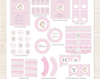 Velveteen Bunny First Birthday Party Full Printable Collection | Pink Bunny Party Printable Package | First Birthday | Gracie Lee Design