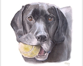 Black Lab, Watercolor, Giclee Print, Rescue Dog Art