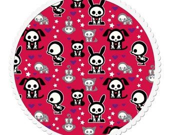 Cotton Quilting Fabric by the Yard - Skelanimals Red Fabric