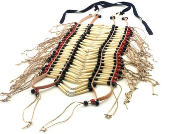 Handmade Traditional Native Large Buffalo Bone Hairpipe Tribal Breastplate