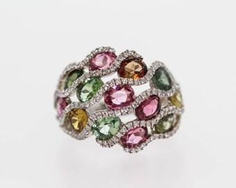 925 Multicolor Tourmaline/ White Topaz Ring