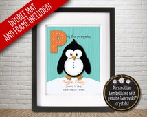 "Personalized Baby or Child Alphabet Letter P Large Print 13 x 16 Frame - ""P is for Penguin"" - with SWAROVSKI™ Crystal Bling – Letter P"