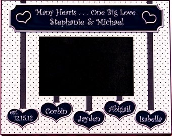 Blended Family Wedding Gift - Many Hearts One Big Love -  Personalized Photo Frame