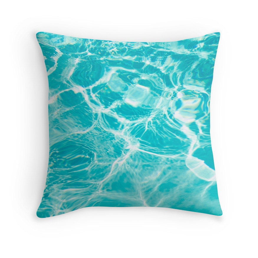 Blue Aqua cotton Throw Pillow cover water tropical ocean