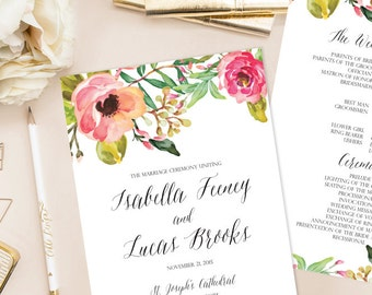 Isabella Printable Wedding Paddle Fan Program (DIY Program), Watercolor, Floral