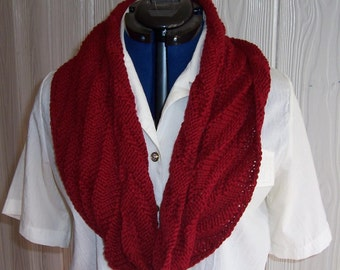 Burgundy Red knit Cowl scarf