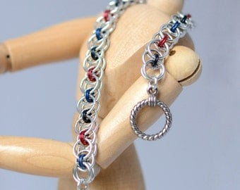 Polyamory Pride Helm Weave Chainmaille Bracelet