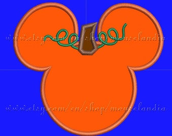 Cute  mouse Pumpkin  Applique Design  3 sizes 4X4, 5X7 and 6X10 Instant Download