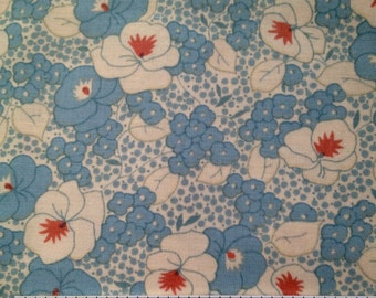 MODA- Pansies In A Workbasket in Chicory Blue- Historical Quilting Fabric