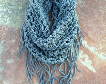 Handmade Crochet Infinity Fringe Scarf (Light Gray)