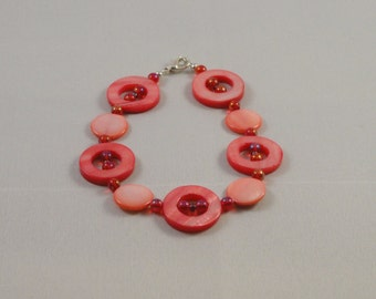 Pink Mother of Pearl & Bead Bracelet