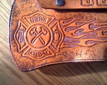 Firefighter axe sheath scabbard Leather personalized with flames