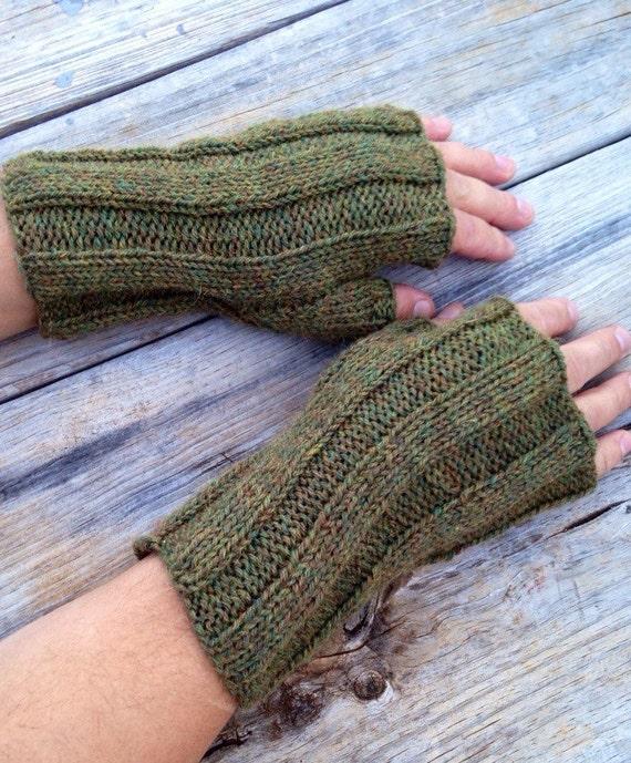 Mens Fingerless Gloves Fingerless Mitts Hand Knit