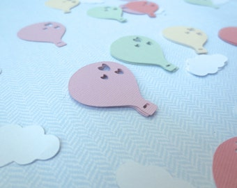 Hot air balloon with clouds confetti: hot air balloon die cut,  Birthday party decoration, First birthday, Baby Shower