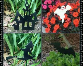 Set of 4 Mixed Halloween Yard Stakes, Halloween Metal Art, Halloween Decorations, Halloween Outdoor Decor, Witch Yard Stake, Halloween