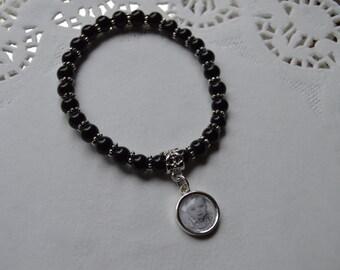 Custom Mini Black Glass Beads Photo Charm Bracelet