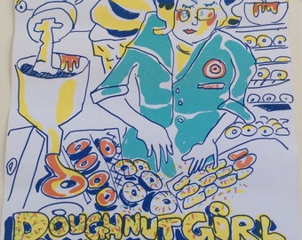 Vintage 1971 Red Grooms Lithograph Poster ~ Doughnut Girl