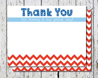 Red White and Blue Thank you note, 4th of July thank you, Memorial Day thank you, Nautical Thank you, Chevron Thank you, Kids birthday thank