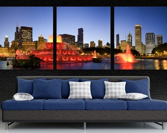 Chicago Buckingham Fountain In Red, Canvas Print. Grand Park 3 Panel Split, Triptych panoramic print for room wall decor interior design.
