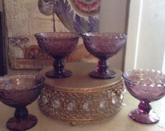 4 Pretty Purple Glass Desert Cups