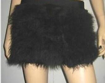 Black Furry Fluffy skirt  Halloween costume Dance Clubwear