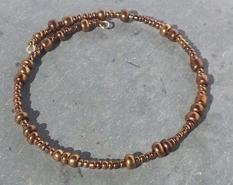 Brown beaded memory wire bracelet