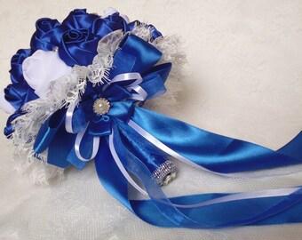 Bridal bouquet, handmade, color Blue, White