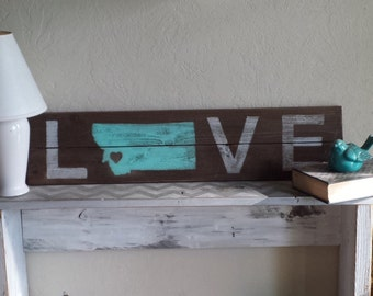 Love State Sign.     Choose Your Color,State,Heart Placement.