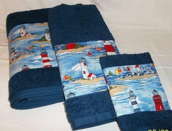 Lighthouse Nautical Bathroom Accessories: Lighthouses Towels Sailboats Nautical Beach House Decor Navy