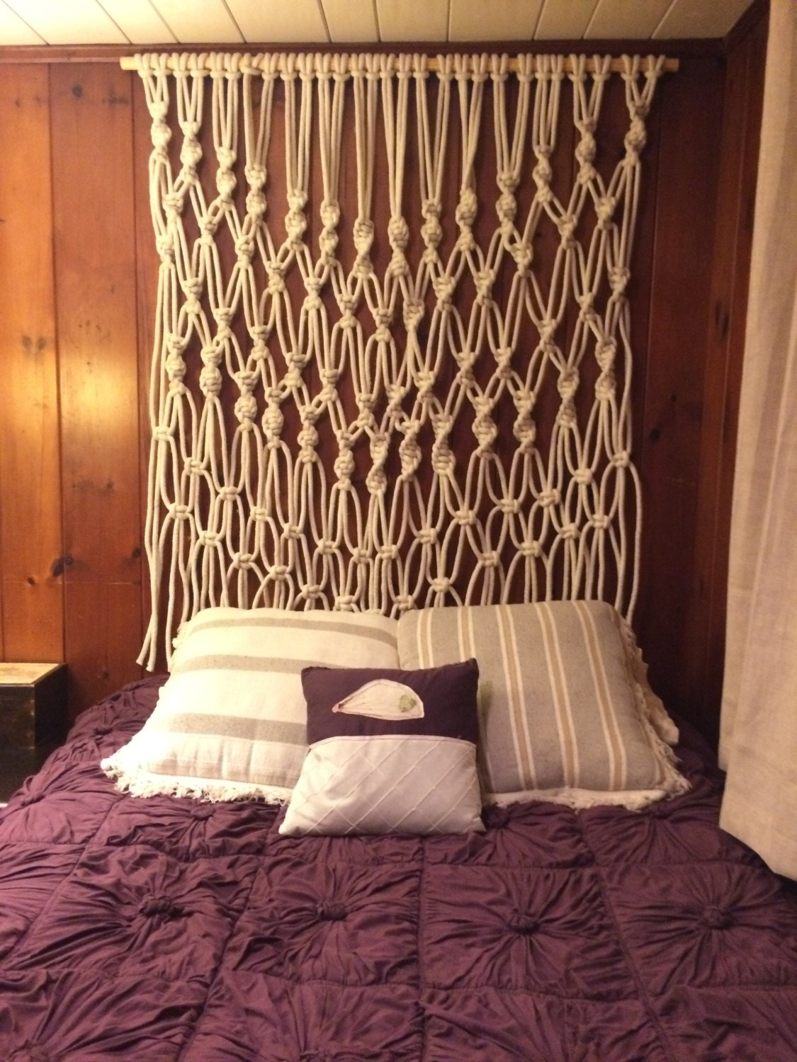 Large macrame wall hanging or headboard by bmaryleedesign for Hang bed from wall