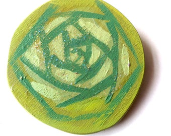 Illustrated wooden brooch, wooden green rose, handmade one of a kind