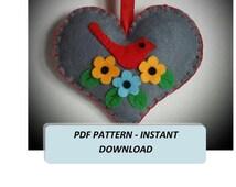 PDF Heart Pattern, pdf tutorial, Pattern heart,fFelt heart Ornament, DIY ornament. diy heart pattern. Heart Sewing Pattern.Christmas Pattern