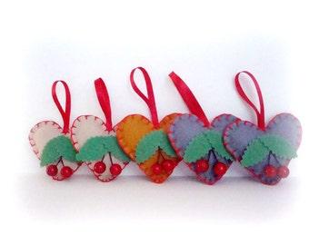 Holiday Ornament. Christmas Tree Ornament. Felt Heart Ornament. Christmas Tree Decorations Hearts. Berry Ornament. Christmas Felt Hearts