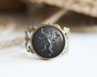 House Lannister Game of Thrones adjustable ring, antique silver or antique bronze, cool jewelry