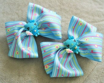 Pair of Blue Hello Kity Hair Bow Clip