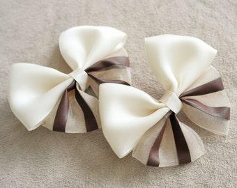 Pair of Soft Beige Hair Bow Clip