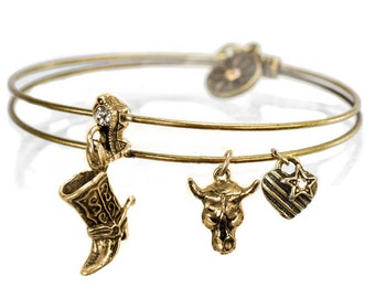 Cowboy Boot, Cowgirl Bracelet, Cowgirl Jewelry, Western Jewelry Cowgirl, Wild West, Steer Head, Stacking Bangles, Charm Bracelet BR372