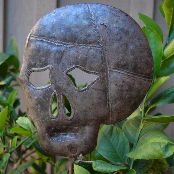 Skull Garden Stake, Haitian Metal Art, Hand pounded made from a 55 gallon metal barrel