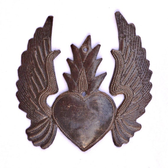 Flaming Heart, Metal Heart with Wings, Recycled Steel Art made in Haiti, Hand Cut in Haiti