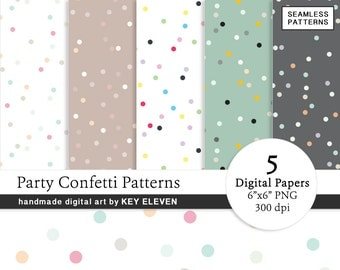 Party Confetti Digital Paper Pack - Gold, Pink, Black Polka Dots SEAMLESS Patterns. Instant Download PNG - Scrapbooking - KEDP012
